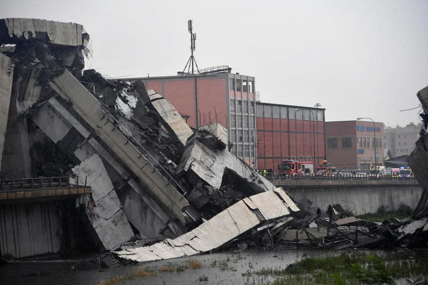 A large section of the Morandi viaduct upon which the A10 motorway runs collapsed in Genoa, Italy, on Aug 14, 2018.