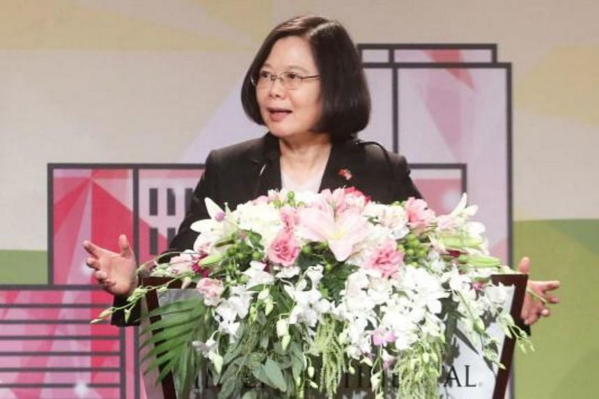 Taiwan's President Tsai Ing-wen speaks during her stopover in Los Angeles, California, en route to Paraguay, on Aug 13, 2018. It was the first time in 15 years that a leader of the island has spoken publicly on American soil.