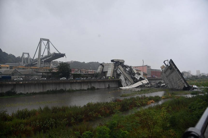 A large section of the Morandi viaduct, upon which the A10 motorway runs, collapsed in Genoa, Italy, on Aug 14, 2018.