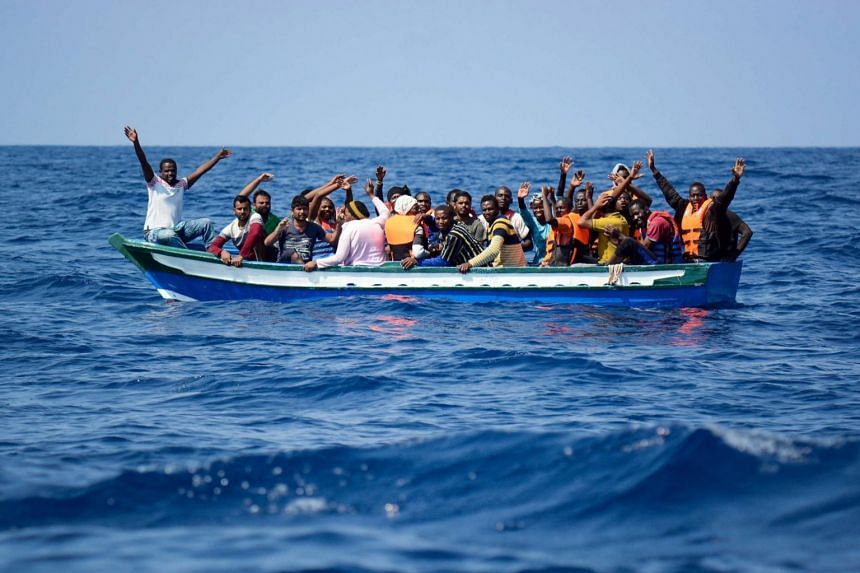 Migrants being rescued by a non-governmental organisation in the Mediterranean on Aug 10, 2018.