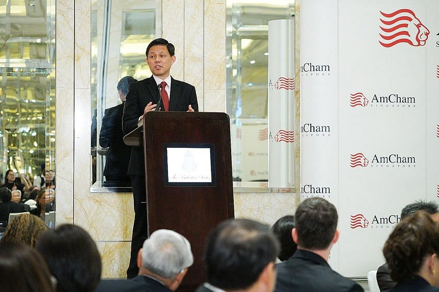 Minister for Trade and Industry Chan Chun Sing speaking at a lunch event organised by the American Chamber of Commerce in Singapore yesterday.