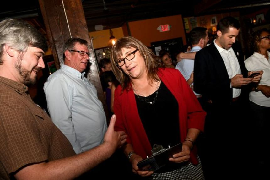 Vermont Democratic Party gubernatorial primary candidate Christine Hallquist, a transgender woman, at her election night party in Burlington, Vermont, on Aug 14, 2018.