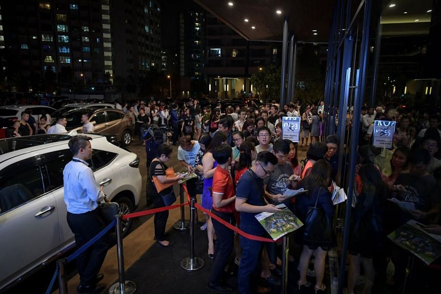 The crowd at the Riverfront Residences showflat in Hougang, on July 5, 2018. Riverfront Residences was among the top sellers for the month of July.