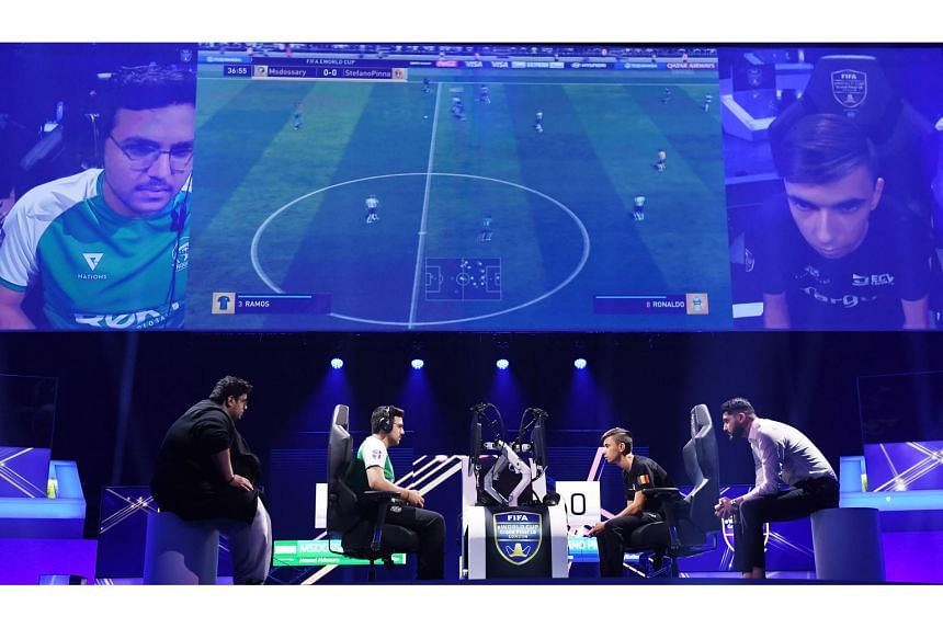 "Saudi Arabia's Mosaad ""MSDossary"" Aldossary (in green), the eventual champion, taking on Belgium's Stefano ""Pinna"" Pinna in the Fifa eWorld Cup 2018 grand final earlier this month."