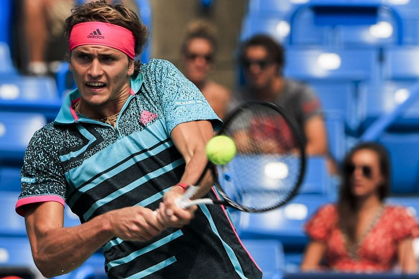 Zverev in action against Robin Haase of the Netherlands.