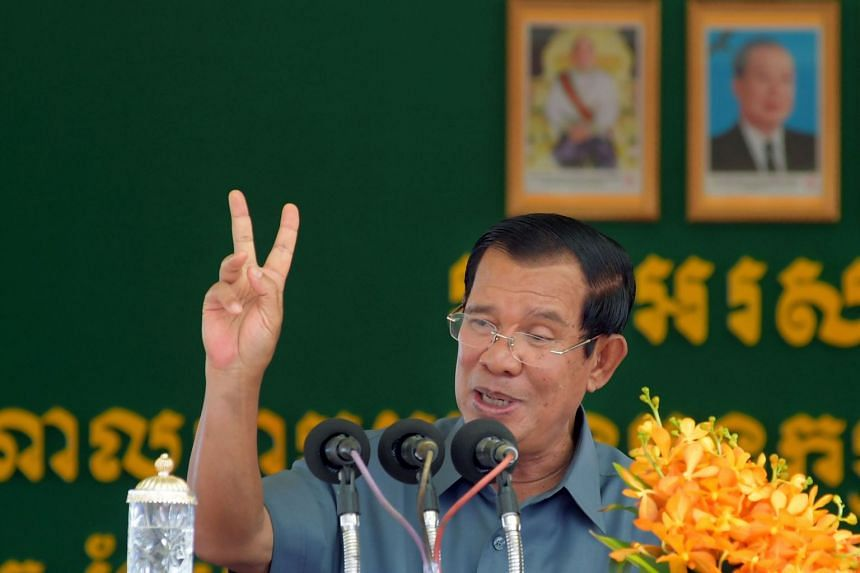Cambodia's Hun Sen addressing a gathering of garment workers in Phnom Penh on Aug 15, 2018.
