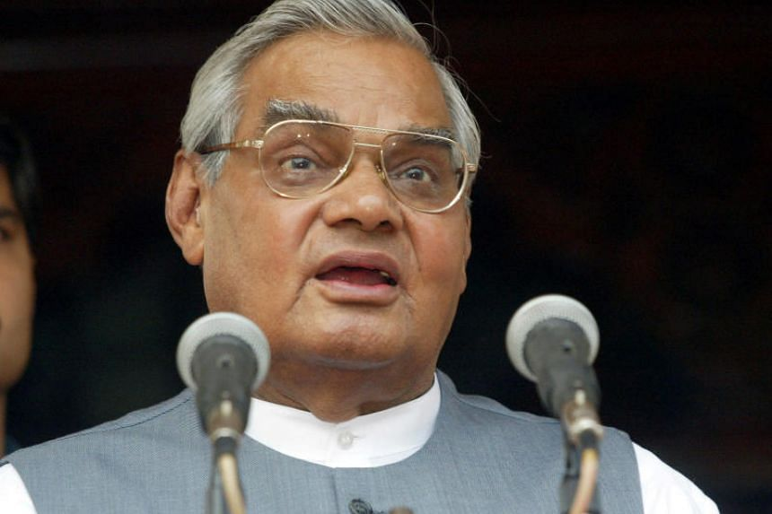 File photo showing three-time Indian prime minister Atal Bihari Vajpayee, who died on Aug 16, 2018.