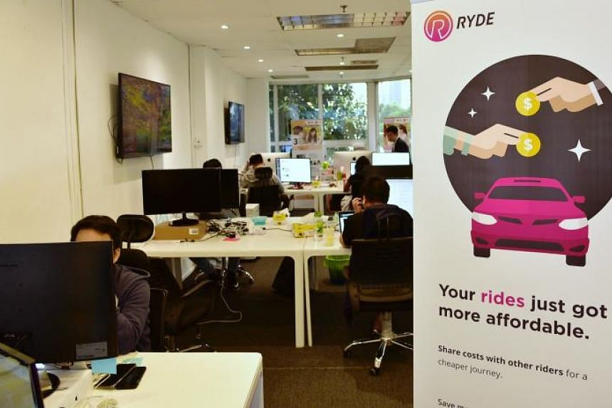 The Ryde office at North Bridge Centre. More than a fifth of Ryde's drivers are private-hire chauffeurs, while the remaining are private drivers who use the app for non-commercial car-pooling.