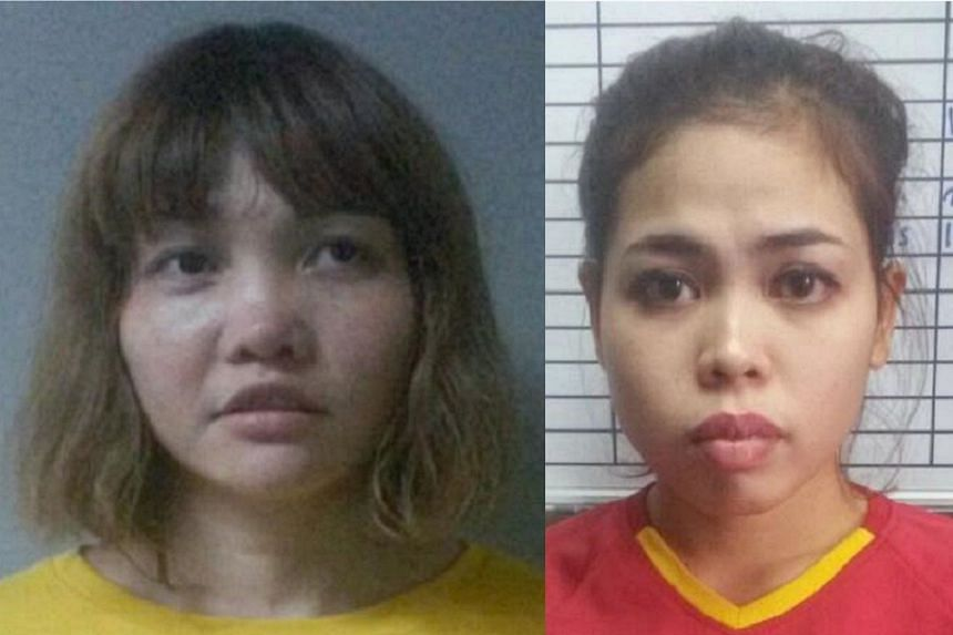 Expert witnesses testified that traces of VX were found on the clothing of both Doan Thi Huong (left) and Siti Aisyah.