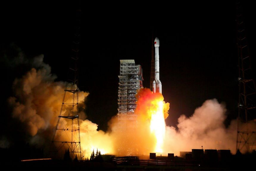 Two BeiDou-3 satellites via a single carrier rocket take off at the Xichang Satellite Launch Centre in Sichuan, China, on Nov 5, 2017.