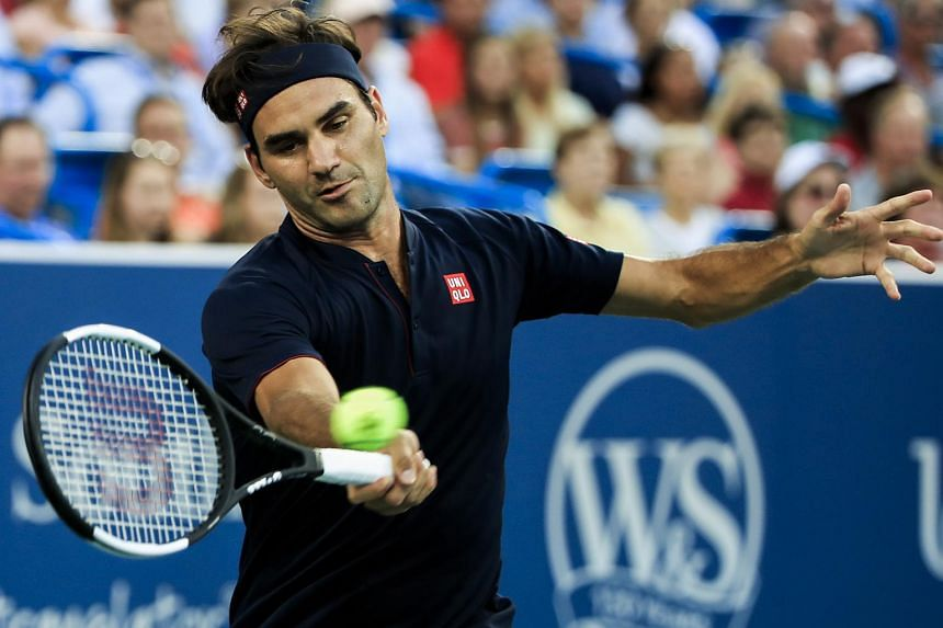 Roger Federer in action against Peter Gojowczyk during their match at the Western & Southern Open tennis tournament on Aug 14, 2018.