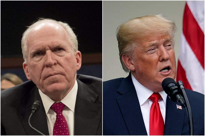 Ex-CIA director John Brennan (left) accused US President Donald Trump of attempting to scare critics and stymie an investigation into ties his with Russia.
