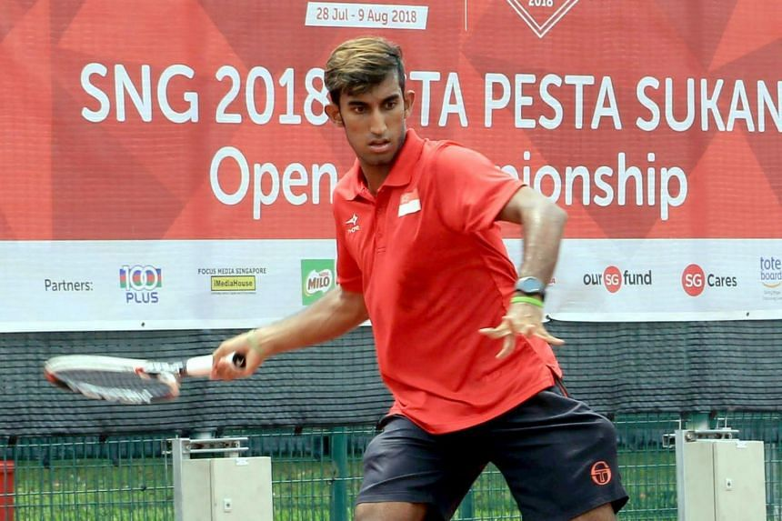 Shaheed Alam in action during the recent Singapore National Games-Singapore Tennis Association Pesta Sukan Open Championship, where he won three titles.