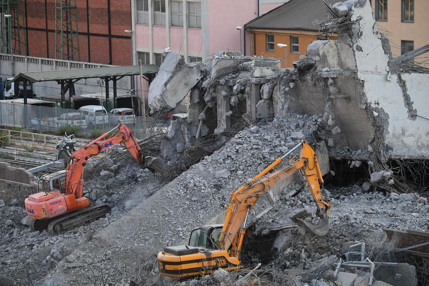 Removal of the rubble of the partially collapsed Morandi bridge in Genoa, Italy, Aug 16 2018.