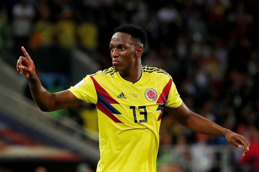 Mina in action for Colombia during the 2018 World Cup.
