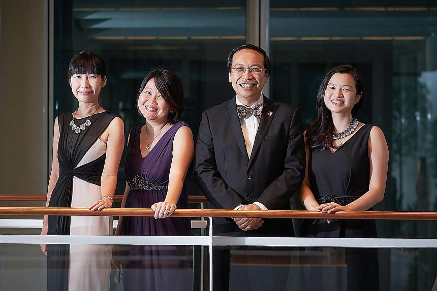 The IMH team that won the National Clinical Excellence Team Award include (from left) Ms Chan Mei Chern, head of operations; Ms Geraldine Wong Cheng Im, team leader; Associate Professor Daniel Fung Shuen Sheng, programme director; and Ms Grace Li Jia