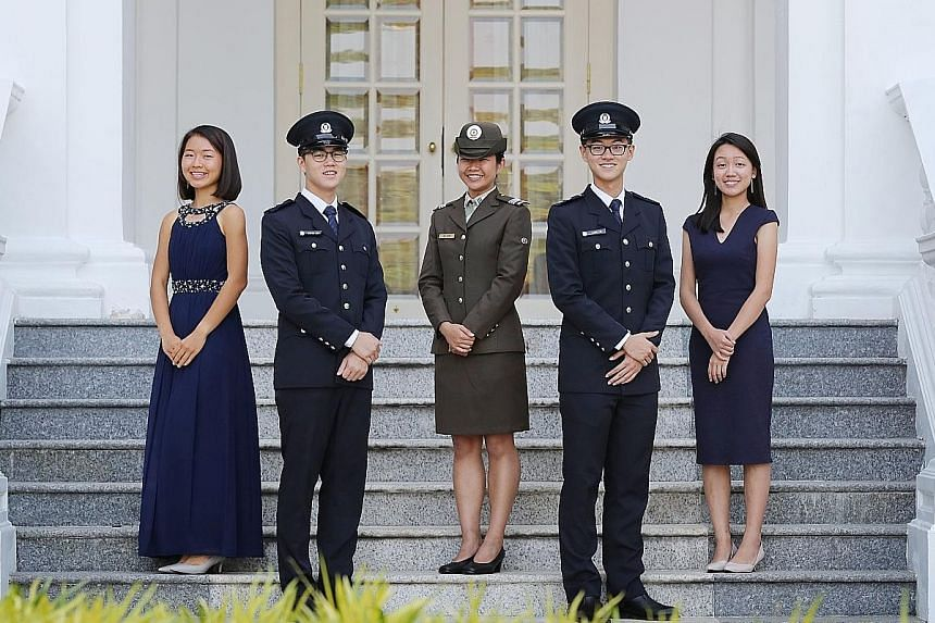 This year's President's Scholars are (from far right) Ms Tan Xin Hwee, Mr Alden Tan Ming Yang, Ms Sharmaine Koh Mingli, Mr Stefan Liew Jing Rui and Ms Shi Peng Yi Penny. Ms Koh is also a Singapore Armed Forces Scholarship recipient, while Mr Tan and