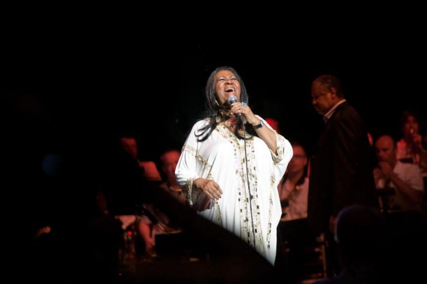 Aretha Franklin performs at the Jones Beach Theater in Wantagh, New York, on July 27, 2011.