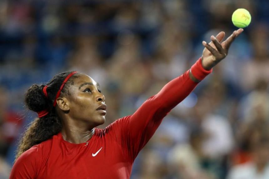 Serena Williams serves during the Western & Southern Open at Lindner Family Tennis Center, on Aug 14, 2018.