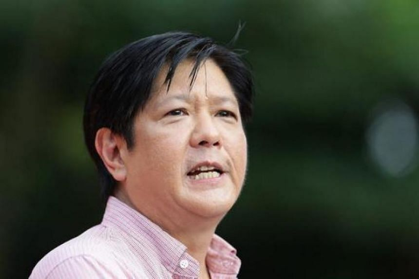 "President Rodrigo Duterte said he would step down if Ferdinand ""Bongbong"" Marcos (above) or Chiz Escudero would replace him."