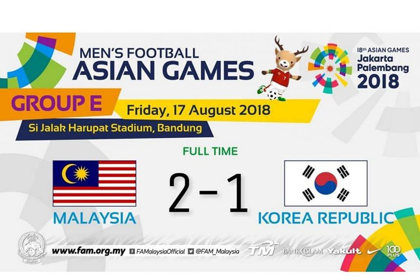Football Malaysia Stun South Korea 2 1 In Asian Games Group Match Football News Top Stories The Straits Times