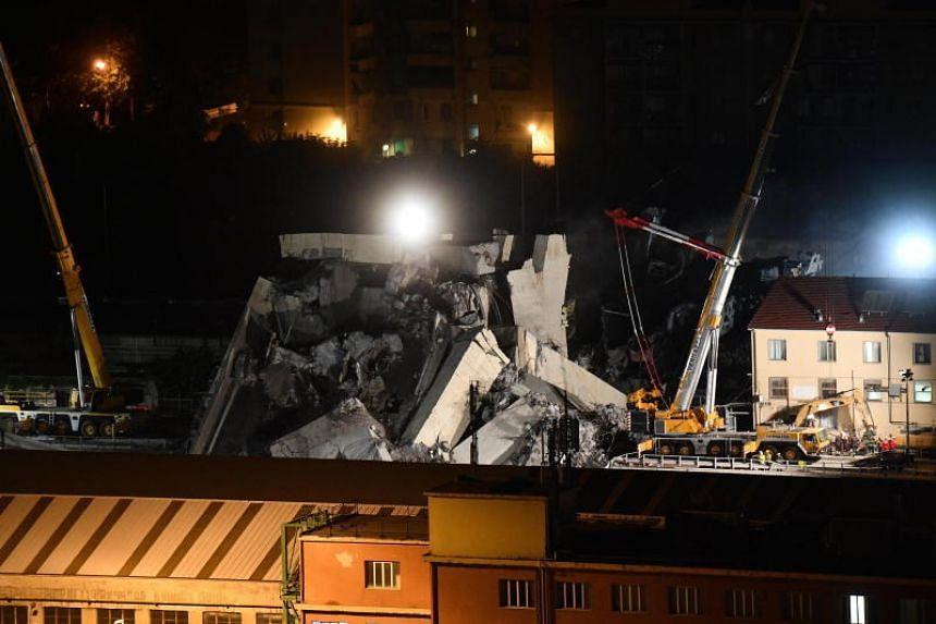 Night view of the Morandi bridge collapsed in Genoa, Italy, on Aug 15, 2018.