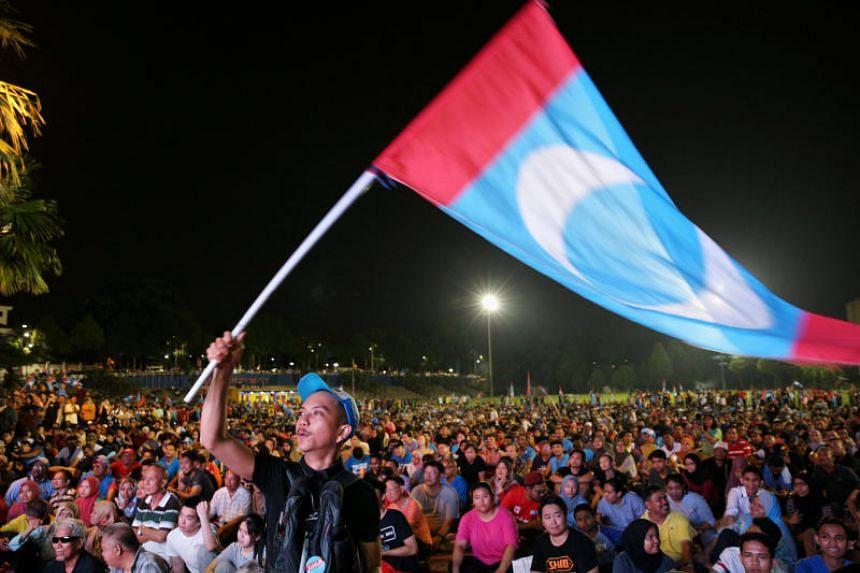 Supporters of Pakatan Harapan in Petaling Jaya on May 10, 2018.
