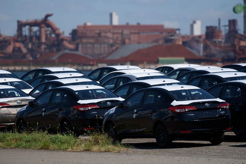 Toyota vehicles bound for shipment at Nagoya Port. Japan's exports to the United States fell 5.2 per cent year on year last month, down for a second straight month, due to a 12.1 per cent decline in car shipments.