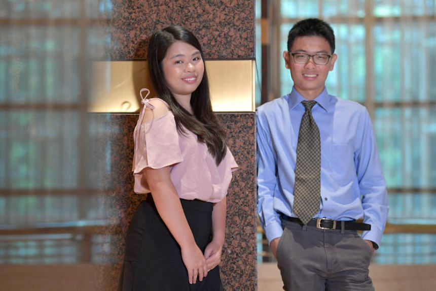 Smart Nation scholars Pun Shu Fen and Lee Wei Jie at the Smart Nation Scholarship Award Ceremony 2018, held at Conrad Centennial Singapore, on Aug 17, 2018.
