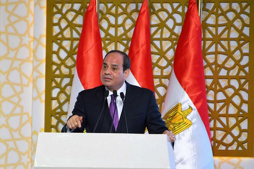 Egyptian President Abdel Fattah Al Sisi giving a speech north of Cairo in July 2018.