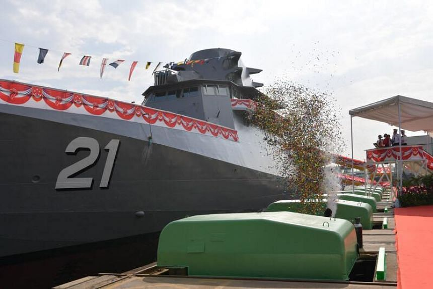 The Dauntless, The Republic of Singapore Navy's seventh littoral mission vessel, was launched at ST Engineering Marine's Benoi Shipyard.