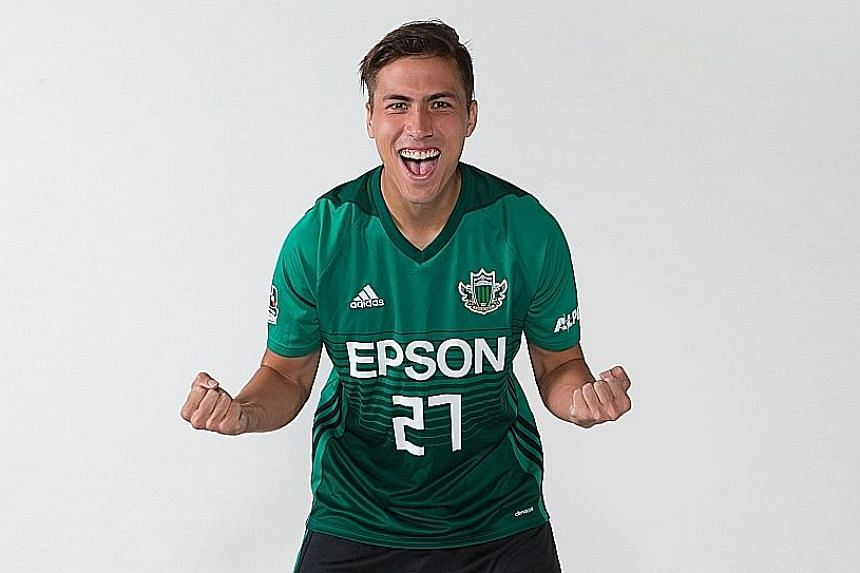 Defender Anders Aplin posing in his new Matsumoto Yamaga No. 27 jersey, which coincidentally is the Singaporean's age. He will be on loan with the Japanese club until Jan 1 and could extend the stint next season.