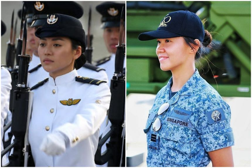 Military Expert 1 Gorgina Choo (left) and Captain Sengie Chong said that more attention should be given to their military achievements, rather than their looks.