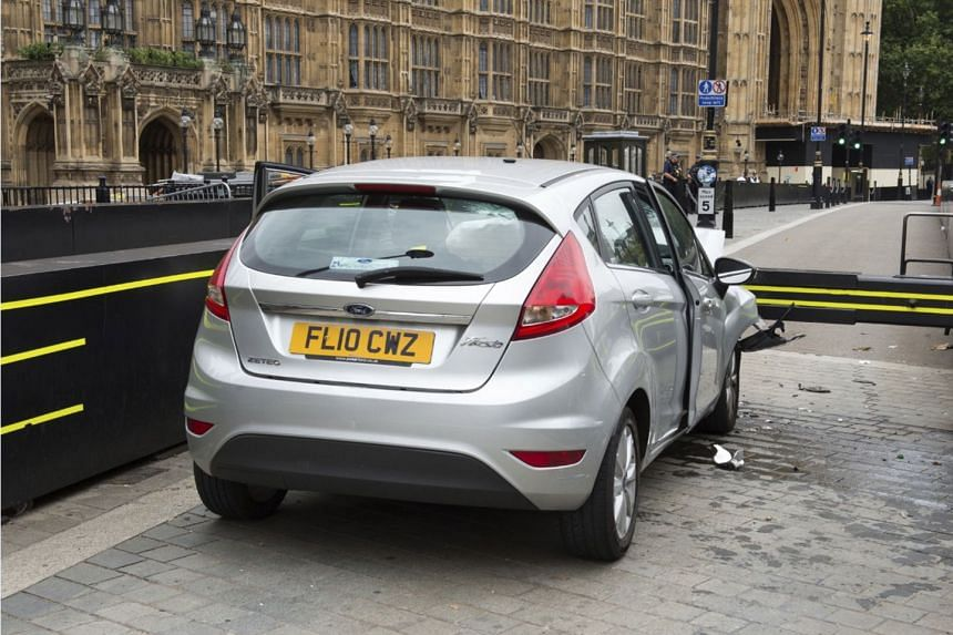 The silver Ford Fiesta which was involved in the incident outside the Houses of Parliament.