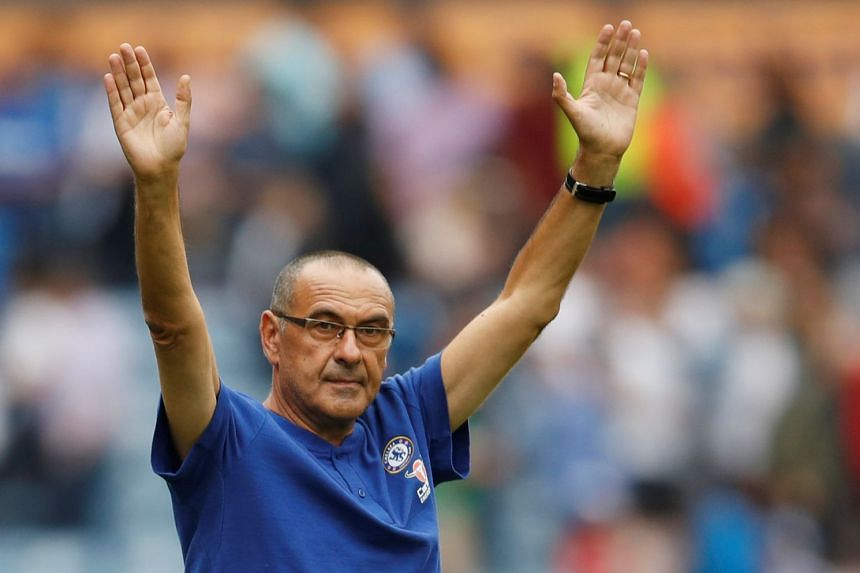 Chelsea manager Maurizio Sarri celebrates after the match.