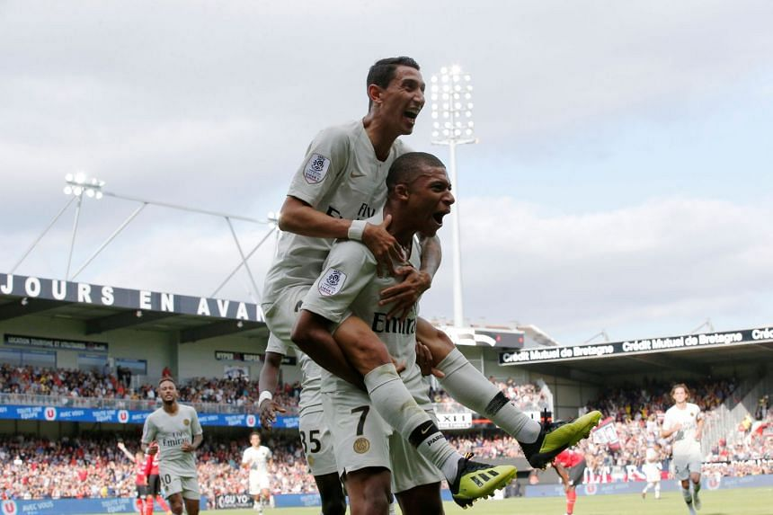 Mbappe celebrates scoring their second goal with Angel Di Maria.