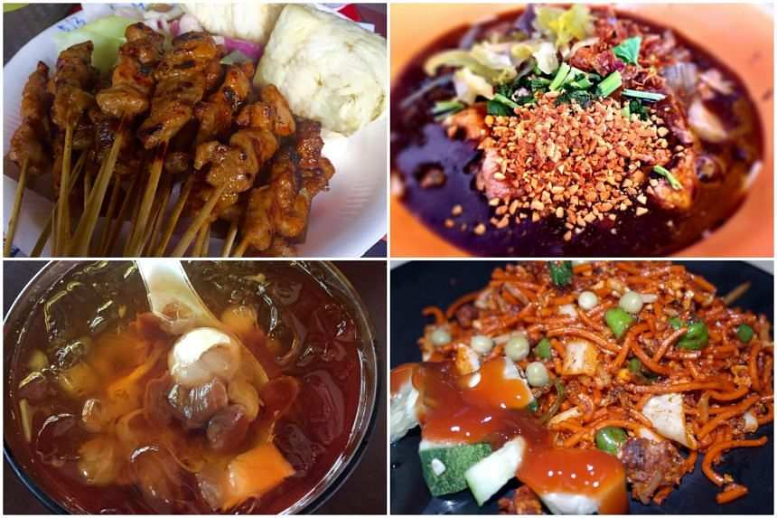 (Clockwise, from top left) Satay from Haron Satay, beef noodles from Zheng Yi Hainanese Beef Noodles, mee goreng from Hass Bawa Mee Stall and cheng tng from Ye Lai Xiang Hot and Cold Cheng Tng.