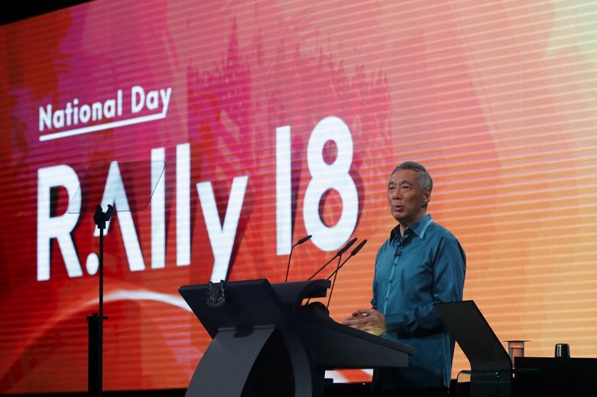 Prime Minister Lee Hsien Loong speaking at the National Day Rally at ITE College Central on Aug 19, 2018.
