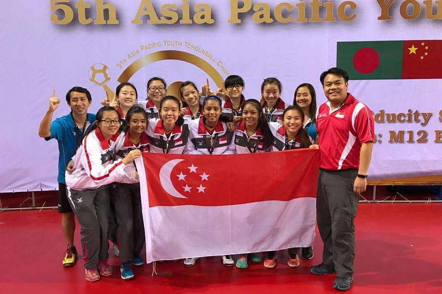 Singapore's Under-18 Girls' team celebrating after winning the Asia-Pacific Youth Tchoukball Championships finals against Chinese Taipei, on Aug 19, 2018.