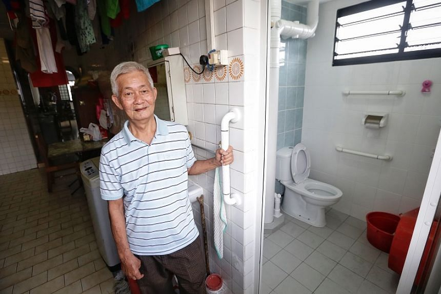 Jurong West resident Chew Ang Moh, whose house underwent the Home Improvement Programme in August 2017, said the new anti-slip tiles and grab bars in his toilet has given him more confidence to move on his own in the shower.