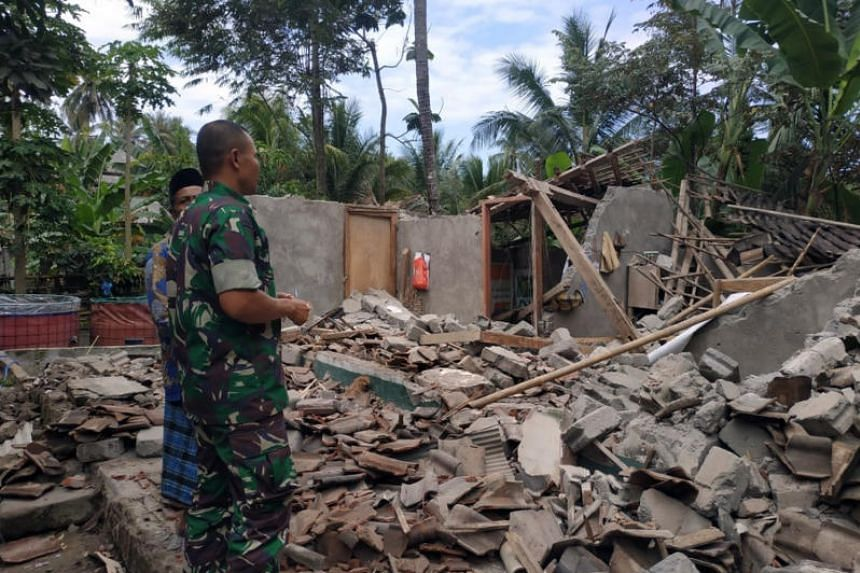 A building in ruins in the aftermath of a fresh earthquake that rocked Indonesia's Lombok island on Sunday (Aug 19).