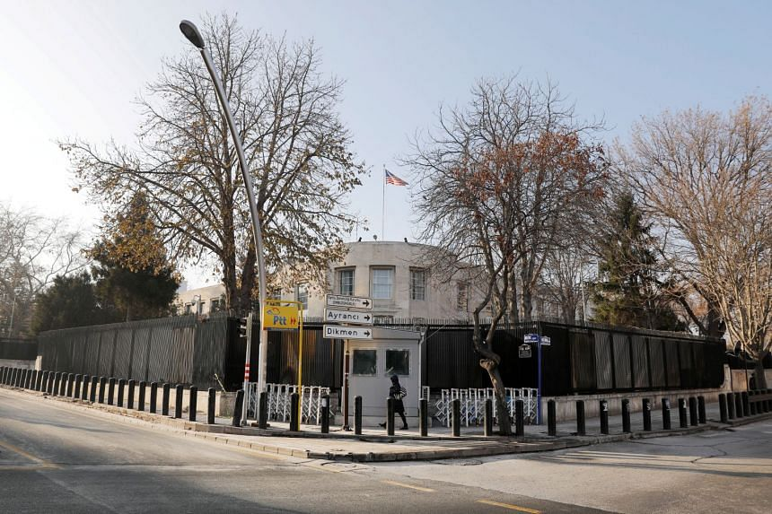 A file photo of the US Embassy in Ankara. A drive-by shooting occurred at the embassy on Aug 20, but a police officer said nobody was hurt.