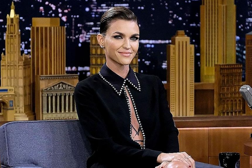 Actress Ruby Rose, seen here at The Tonight Show Starring Jimmy Fallon earlier this month, was attacked on social media after it was announced that she will play Batwoman in a new TV series.