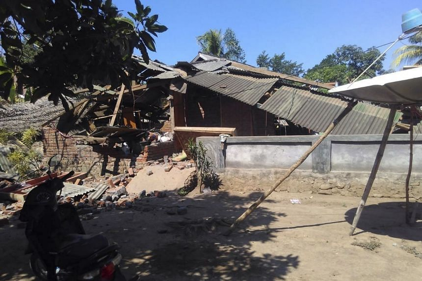 A collapsed house is seen following a magnitude 6.9 earthquake that struck Lombok, Indonesia, on Aug 20, 2018.