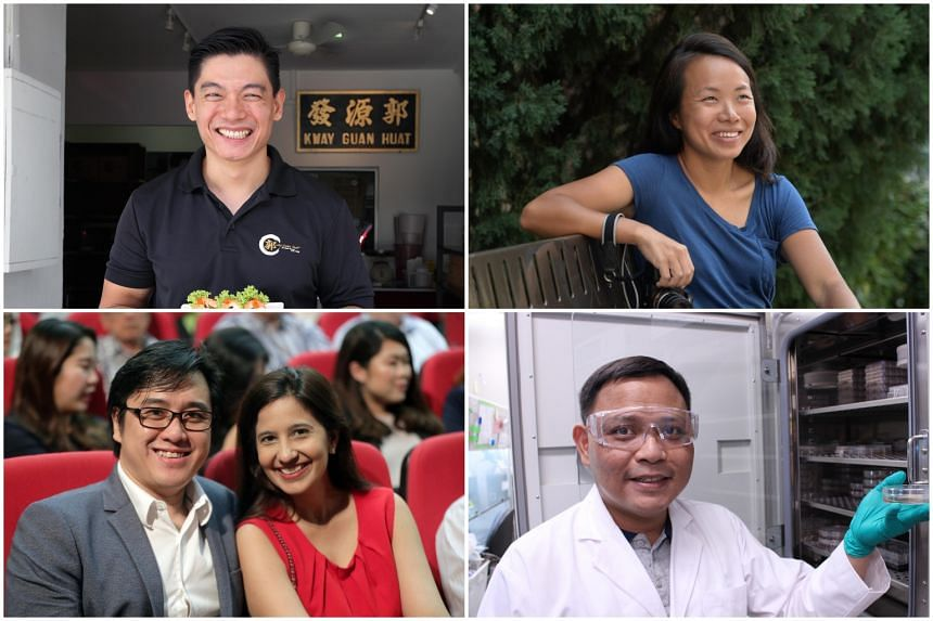 PM Lee acknowledged several Singaporeans for their efforts, during his National Day Rally 2018 speech, including (clockwise from top left) Mr Michael Ker, Ms Sim Chi Yin, Mr Azhar Ali, Ms Roshni Mahtani and Mr Darius Cheung.