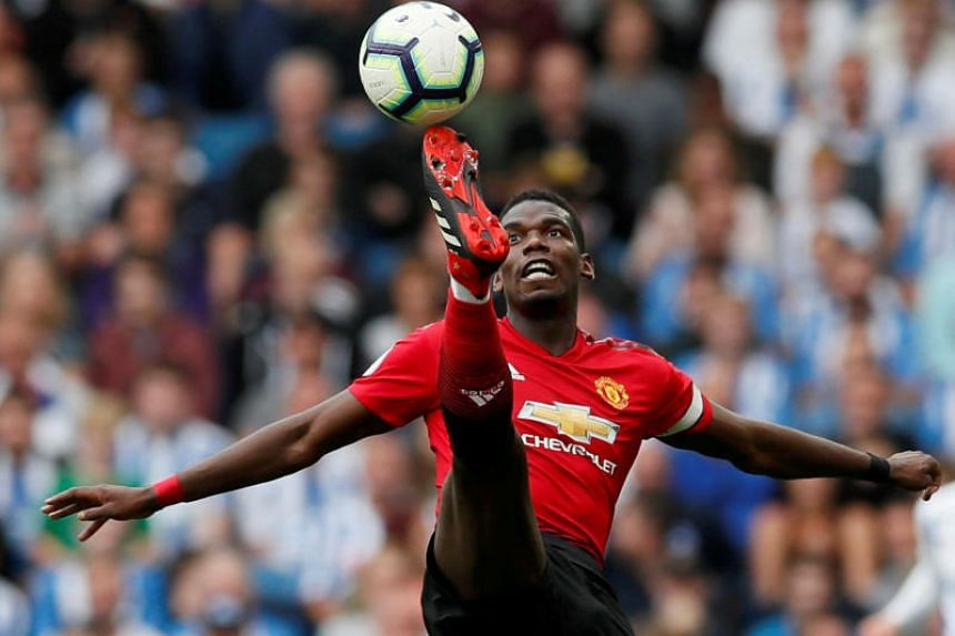 Manchester United's Paul Pogba in action at The American Express Community Stadium, Brighton, Britain, on Aug 19, 2018.