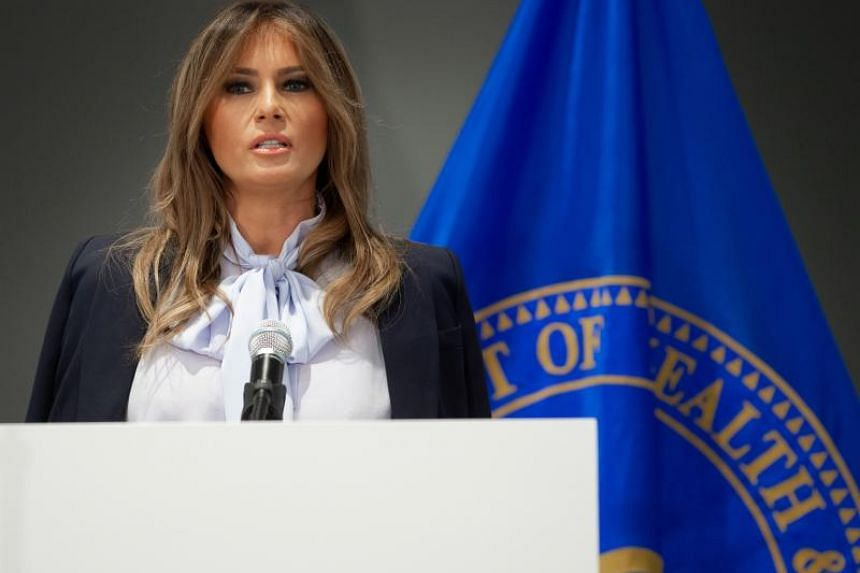 US First Lady Melania Trump speaks during the Federal Partners in Bullying Prevention Cyberbullying Prevention Summit at the US Health Resources and Services Administration building in Rockville, Maryland, on Aug 20, 2018.