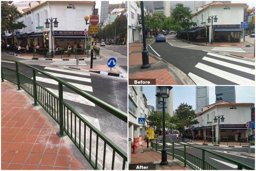 The image of barricades blocking a Circular Road zebra crossing (left), which was shared widely on social media, and the before-and-after images that LTA posted online after shifting the original crossing.