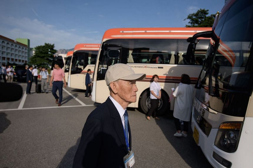 Inter-Korean family reunion participants prepare to depart for North Korea from a hotel resort in Sokcho on Aug 20, 2018.
