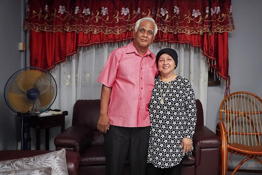Mr Abdul Rahman Kemat and his wife, Madam Samah Saat, 66, in their four-room flat in Jurong West. Mr Abdul sold 46 years of the lease - which had 81 years left at the time - to HDB for $144,000 two years ago.